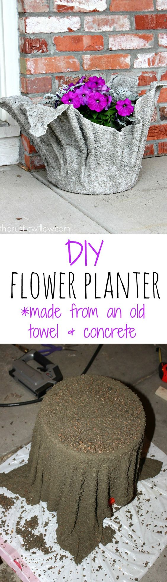 DIY concrete flower planter, made from just an old towel and some concrete! Super simple project with a gorgeous outcome | therusticwillow.com: