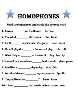 Homophones are words that sounds alike but have different meanings ...