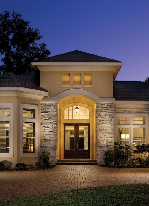 Custom homes custom home designs and half bathrooms on for Stucco stone exterior designs