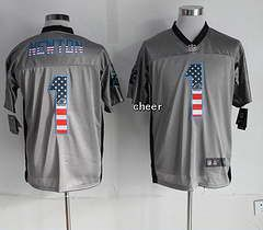 2014 New Nike Carolina Panthers 1 Newton USA Flag Fashion Grey Shadow Elite Jerseys