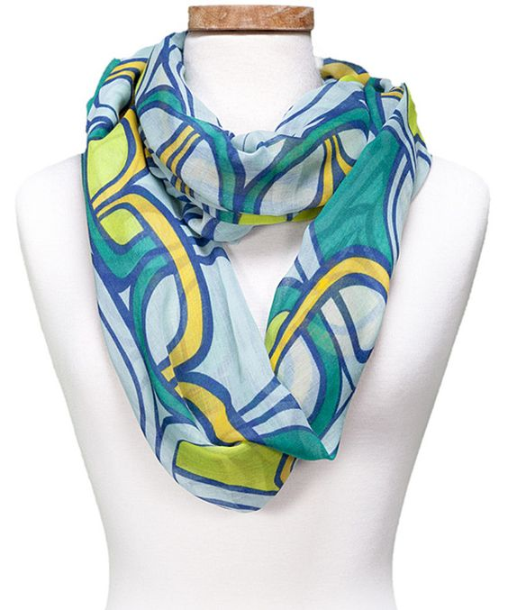 Look at this #zulilyfind! Green Geometric Chain Infinity Scarf by Kaleidoscope Collections #zulilyfinds