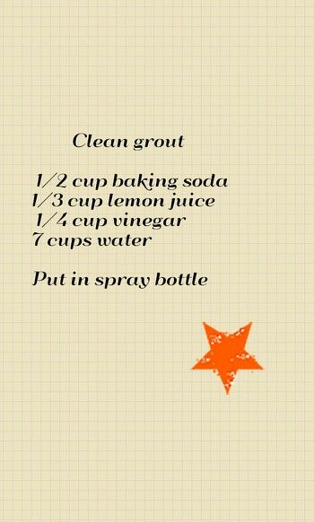 Recipe for grout cleaner - it works!  I mixed up a batch to try it out at 9:00 tonight (should have known better :) and now it's almost midnight, and my kitchen floor looks amazing