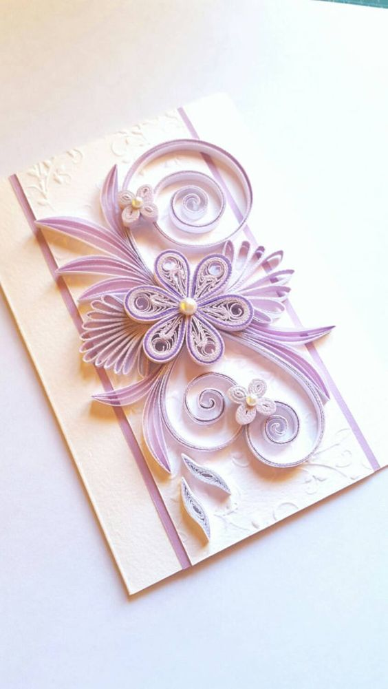 Elegant Handmade Birthday Card Flowers Design by Gericards