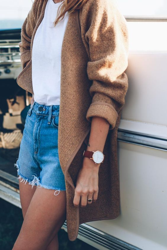 camel cardigan / white tee / denim blue shorts