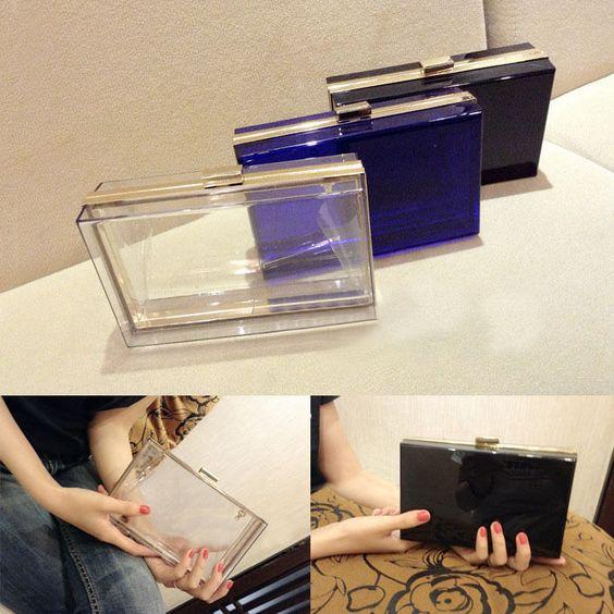 Luxury Women Transparent Acrylic Perspex Clutch Clear Purse Evening Bag Handbag #Unbranded #ShoulderBag