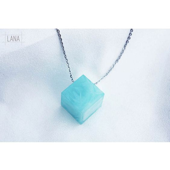 Baby Blue Pastel Color Resin Cube Necklace,  Handmade Resin Jewelry , Cute Necklace , Pastel Necklace Pendant