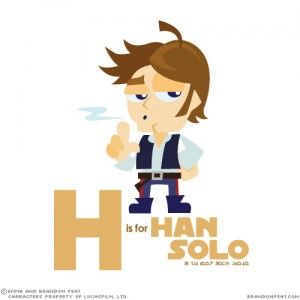 H is for Han Solo; Star Wars alphabet flash cards