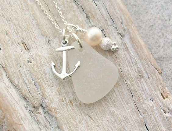 Scottish Sea Glass and Sterling Silver Anchor Necklace - NAUTICAL £22.50