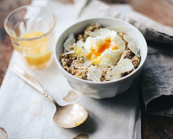 Make savory oats by adding pecorino and poached eggs to the mix.