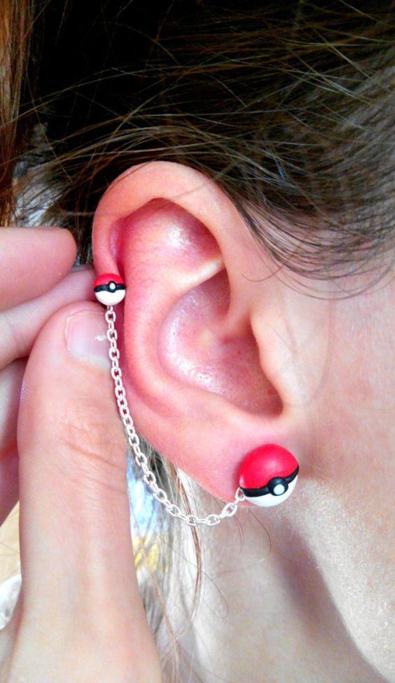 Pokéballs pendiente de cadena Hélix piercing por PolymerNai en Etsy: