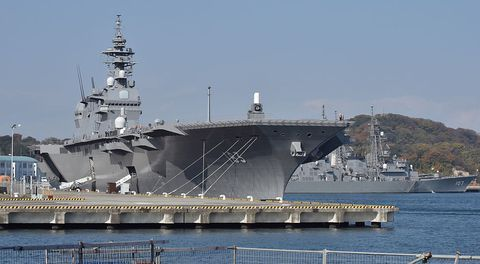 Izumo in port. Izumo is Japan's largest warship since the Second World War.