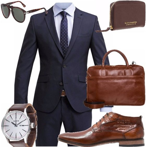 Il manager moderno veste così: completo blu con camicia azzurra e cravatta allegra ma discreta, a pois in tinta. La borsa lavoro dalla linea classica e rigorosa in un caldo color cuoio, il portafogli dalla foggia particolare, l'orologio dal quadrante chiaro e luminoso ed il cinturino in cuoio denotano un uomo di classe. Gli occhiali sono un evergreen che ogni uomo dovrebbe avere.
