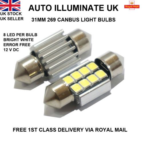 Details About 31mm 8 Led Xenon White 269 Car Interior Boot Festoon Canbus Light Bulbs Lamp 12v Light Bulb Lamp Bulb Led