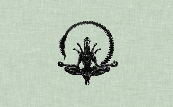 Minimalismo, alien, posición de loto wallpaper