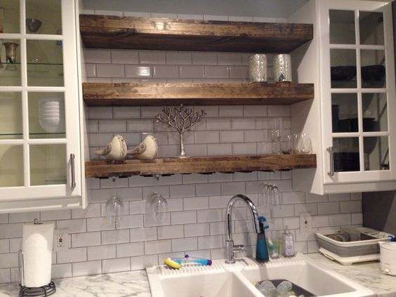 Floating Shelf with a Wine Glass Rack by TheFarmhousePlace on Etsy