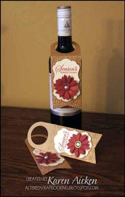 Poinsettia Wine Bottle Tags