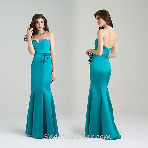 2020 Abiye Elbise Modelleri Yesil Uzun Straplez Balik Etek Kalp Yaka Aksamustu Giysileri The Dress Elbiseler