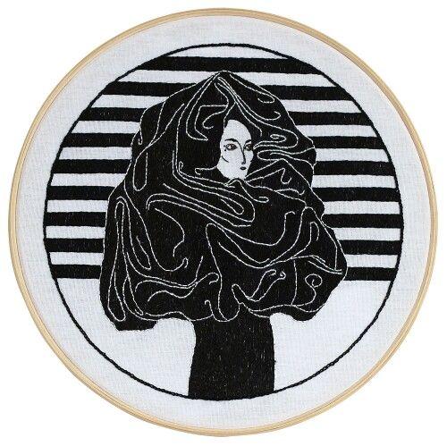 Puberdade, 2014 Desenho bordado à mão sobre linho montado em bastidor de madeira (31 x 31 cm)   #handmade #drawing #embroidery #art #leandrodario