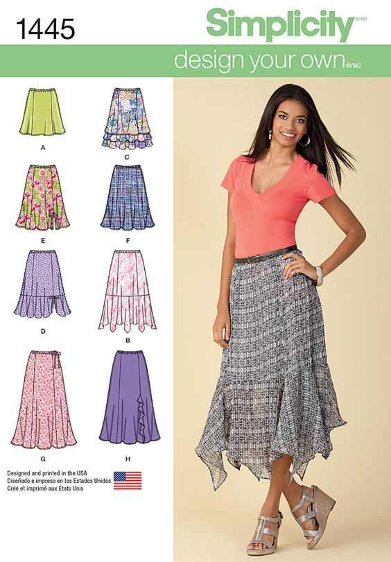 Simplicity Misses' Design Your Own Skirt with Length Variations 1445: