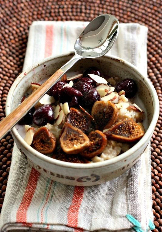 Creamy and delicious, oatmeal with cherries and dried figs is the perfect way to start any morning!: