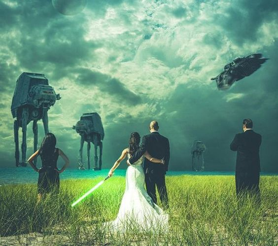 Star Wars wedding photo, this is cool I don't care who you are. lol