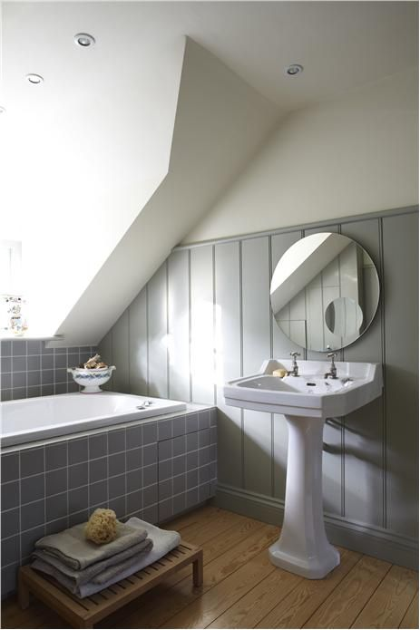 Panelling in Blue Gray by Farrow & Ball and wall in Pointing