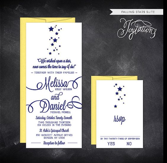 www.etsy.com/shop/joytations FALLING STARS Wedding Invitation Suite by Joytations on Etsy