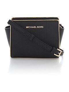 Michael Kors Selma Specchio Black Small Cross Body Bag Visit:www.ladiesbagsstore.co.uk