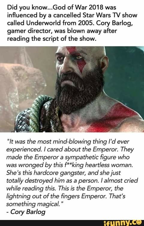Did You Know God Of War 2018 Was Influenced By A Cancelled Star Wars Tv Show Called Undenovorld From 2005 Cory Barlog Gamer Director Was Blown Away After Re God Of War