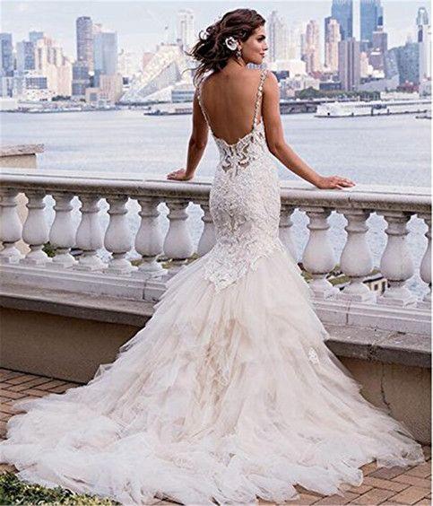 Luxury Mermaid Backless Appliques Chapel Train Wedding Dress Spaghetti Straps Bridal Wedding Dress With Feathers Wedding Dresses Eve Of Milady Wedding Dresses