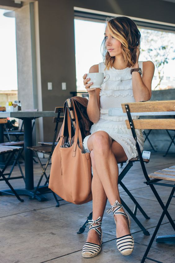 fringe white dress, tassel tote, striped espadrilles, espadrilles — via @TheFoxandShe: