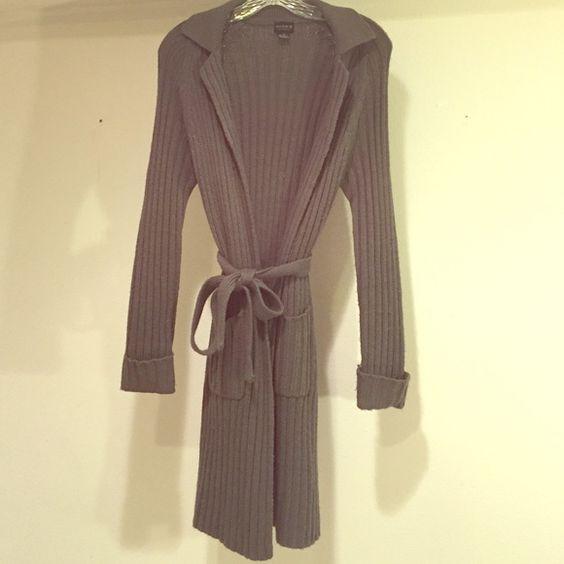 Knit dark gray long sweater (M) Stylish Knit dark gray long sweater. Worn once! Needs a new home! Sweaters