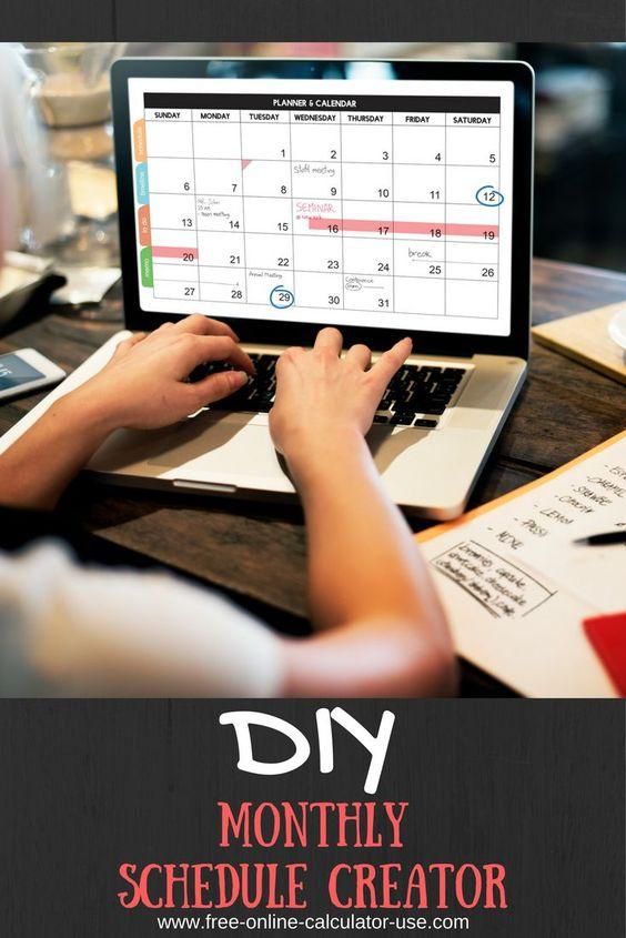 online monthly schedule maker