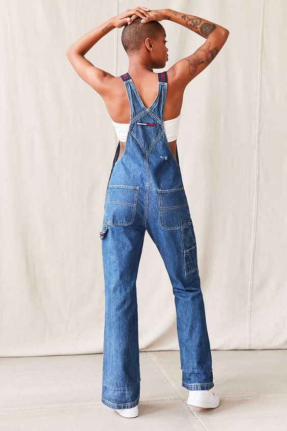 Vintage Tommy Hilfiger Navy/Red Strap Overall