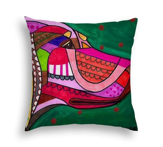 English Setter Dog Art Pillow - - Dog Modern Abstract Art by Heather Galler - 5 sizes to choose from