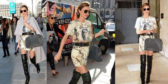 Abito di seta stampato e stivali alti neri, è bastato questo outfit alla splendida Miranda Kerr per attirare tutte le attenzioni su di lei.http://www.sfilate.it/206857/miranda-kerr-sexy-gli-stivali-alti-alla-pfw