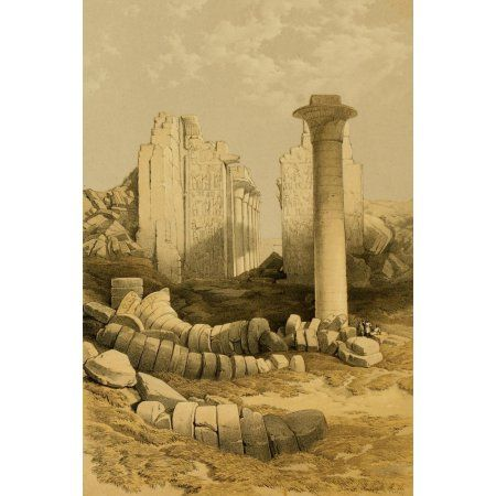The Holy Land 1855 The Dromos or first court of the Temple of Karnak Canvas Art - David Roberts (18 x 24)