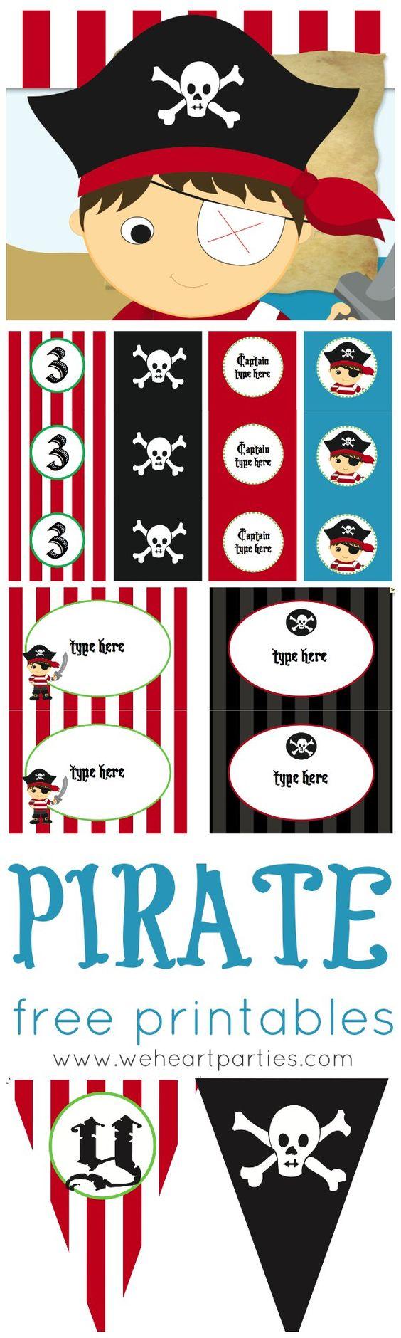 Tolle Vorlagen zum Ausdrucken für deinen nächsten Kindergeburtstag unter dem Motto Piraten.