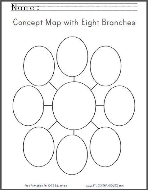 Concept Map With Eight Branches Blank Worksheet Free To Print