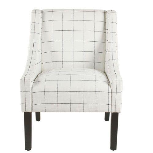 Meadow Lane Modern Swoop Arm Accent Chair White Windowpane