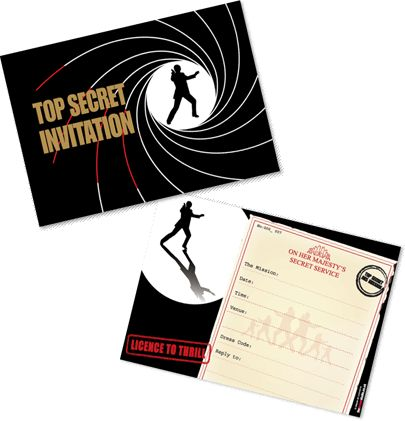Standard James Bond theme party invitations – 007 Party Invitations