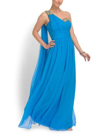 Silk Chiffon Gown With Beading