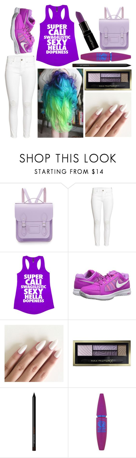 """""""Amber: April 28, 2016"""" by disneyfreaks39 ❤ liked on Polyvore featuring The Cambridge Satchel Company, H&M, NIKE, Max Factor, Maybelline and Smashbox"""