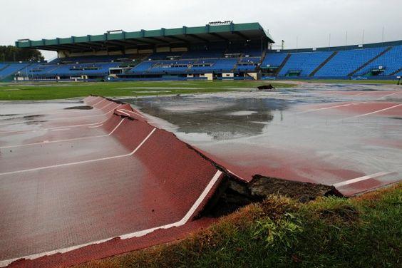 QEII Stadium after the Feb 2011 earthquake, Christchurch New Zealand