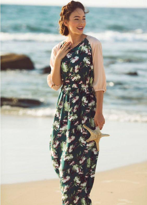Green Floral Print Maxi Dress: