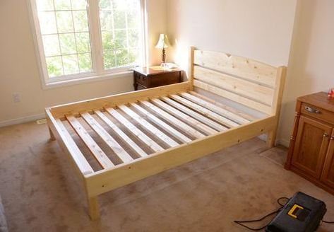 Queen Size Bed From 2x4 Lumber Queen Bed Frame Diy Diy Bed Frame Easy Bed Frame Plans