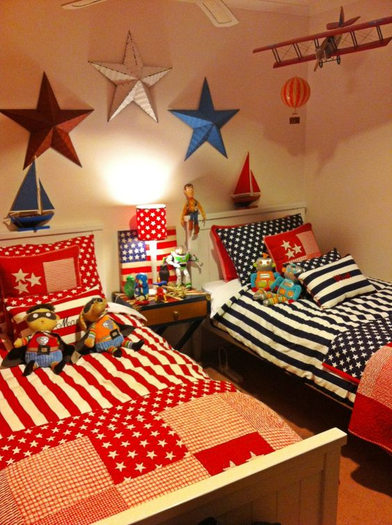 My aunty decorated the boys room americana style so sweet for Candy themed bedroom ideas