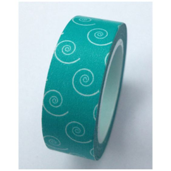 Teal swirls Washi Tape Roll Adhesive Stickers WT386 CharmTape