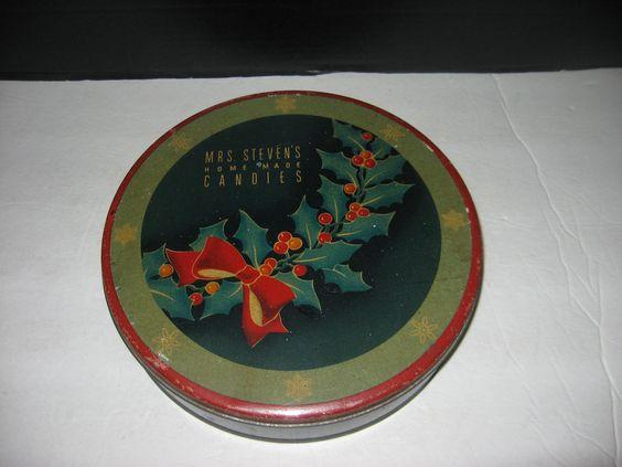 "Vintage Round 10"" Mrs. Steven's Home Made Candies Christmas Tin #MrsstevensHomemadeCandies"