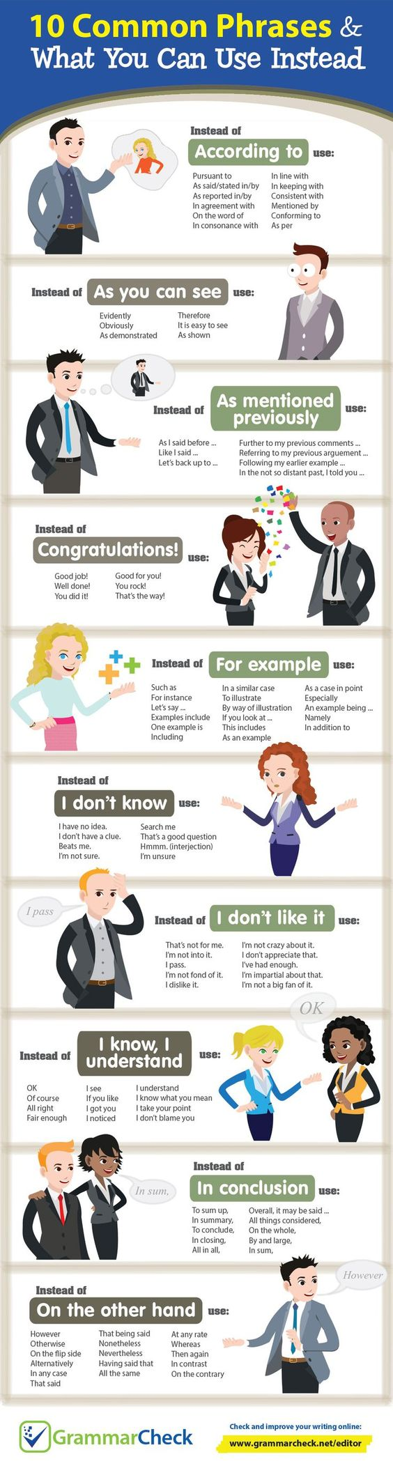 10 Common Phrases & What You Can Use Instead (Infographic):